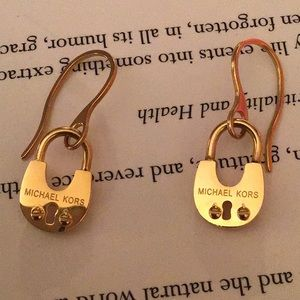 Gorgeous Michael Kors gold lock dangle earrings